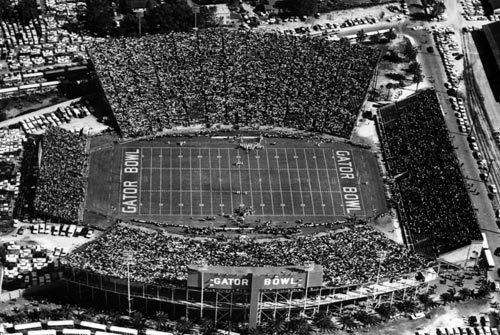Aerial View of 1953 Gator Bowl; Florida vs Tulsa