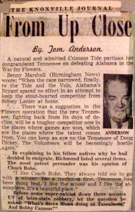 Article examines 1964 Alabama - Tennessee football recruiting rivalry