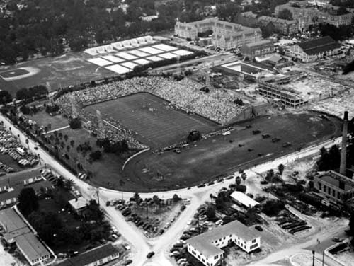 Aerial view of University of Florida football field and campus in late 1940's