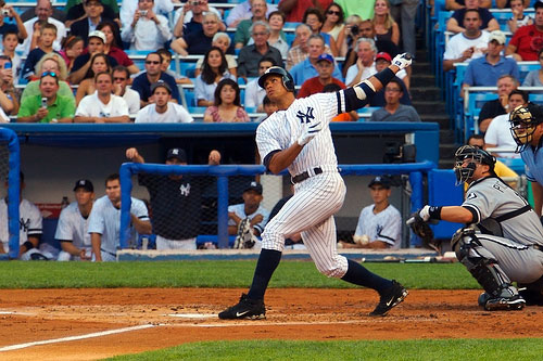 Alex Rodriguez shows his home run swing.