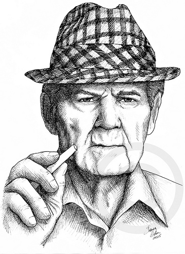 Close up Drawing of Bear Bryant at Chalkboard