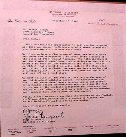 1963 Bear Bryant recruiting letter