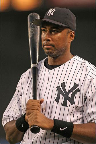 Bernie Williams deep in thought before batting.