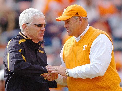 Vanderbilt Coach Bobby Johnson shakes Phil Fulmer hand.