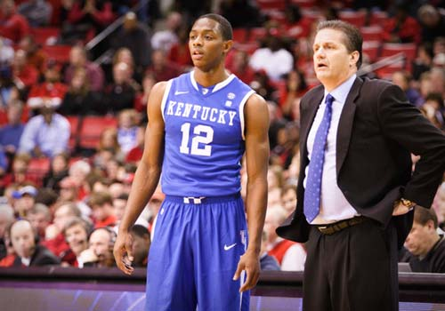 Kentucky coach John Calipari and Brandon Knight