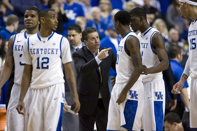 Kentucky Wildcats head coach John Calipari coaches his players