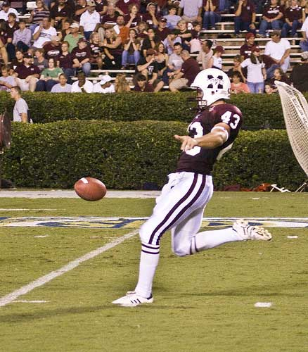 Mississippi State punter kicks