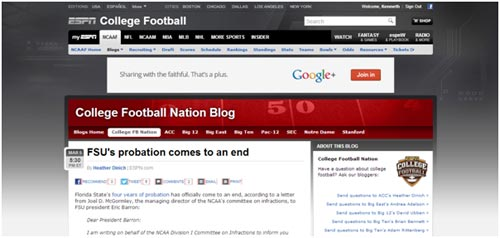 ESPN's College Football Nation Blog