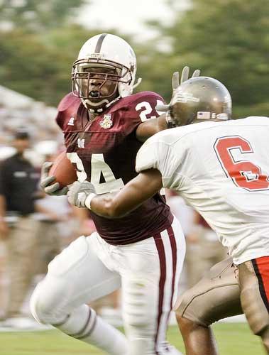 MSU runner stiff-arms opponent