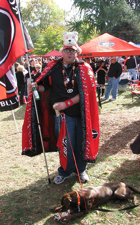 Bulldog fan decked out at pregame tailgate party