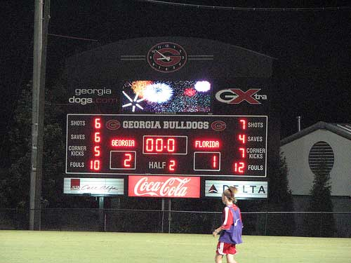 Scoreboard attests to Georgia soccer victory over Florida