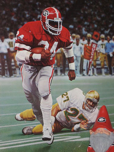 Nice shot of Herschel Walker at Georgia, with UGA gnome