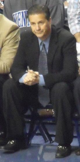 John Calipari coaching a game for the Kentucky Wildcats.
