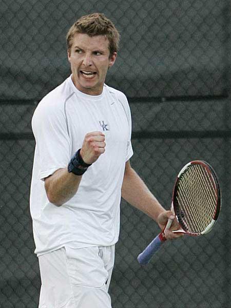 Kentucky Wildcat Celebrates Tennis Point