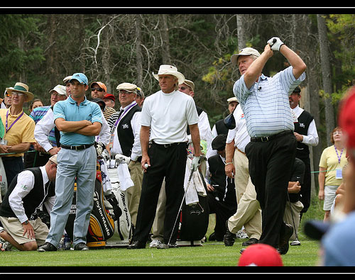 Jack Nicklaus, Greg Norman and Sergio Garcia compete in skins game.