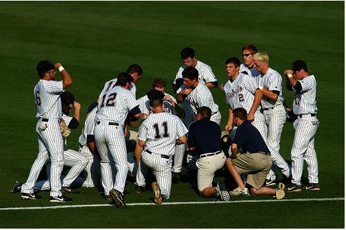 Ole Miss Baseball Team Huddle
