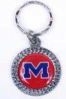 Ole Miss Rebels chrome circle keychains