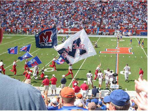 Ole Miss football takes the field at Florida