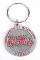 Ole Miss Rebels pewter keychains