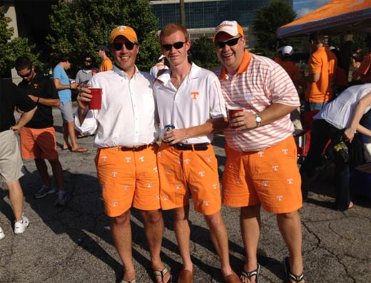 orange shorts with the power T