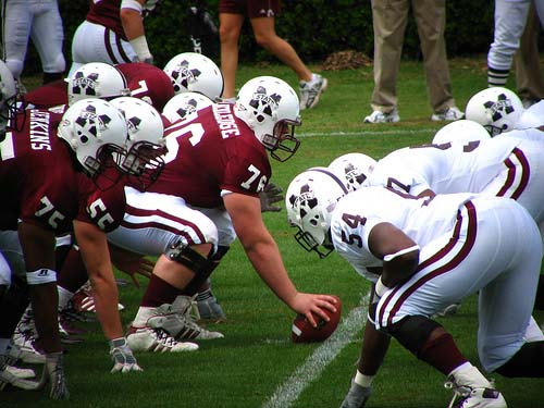 Spring scrimmage football game at Davis-Wade Stadium at Scott Field