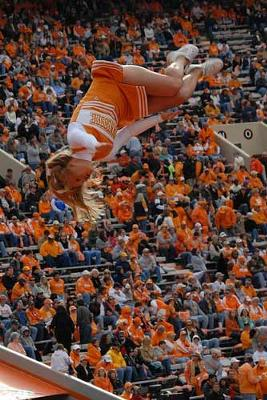 Tennessee Vols Cheerleader In Air