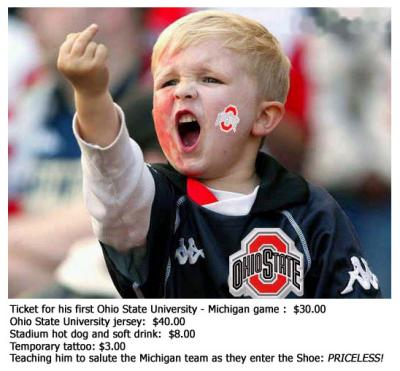 Priceless Salute of Michigan by Young Ohio State Fan