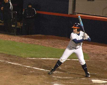 Auburn softball player's batting stance