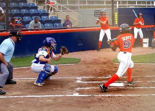 Auburn softball hitter shows her left-handed swing v