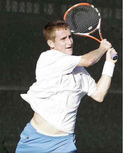 Florida's Greg Ouellette displays his backhand swing