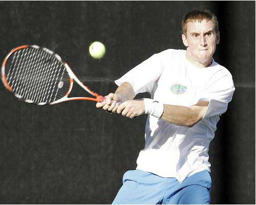Florida Gators Greg Ouellette hits tennis backhand