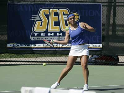 Kentucky Womens Tennis Player Hits Forehand