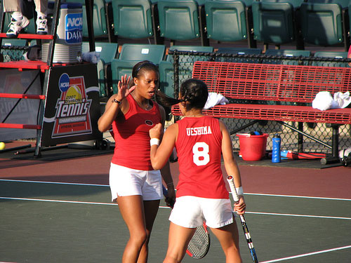 Lady Bulldogs doubles partners celebrate point
