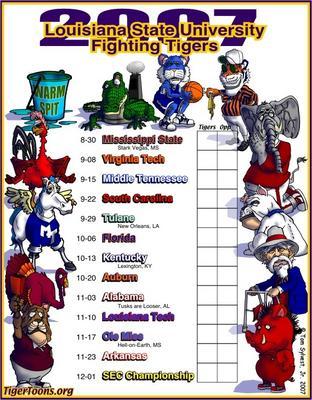 2007 LSU Football Schedule Poster
