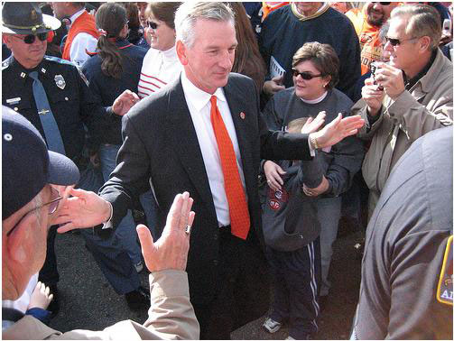 Tommy Tuberville Greets Auburn fans before football game.