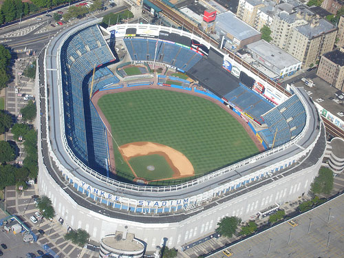 Overhead view of Yankee Stadium.